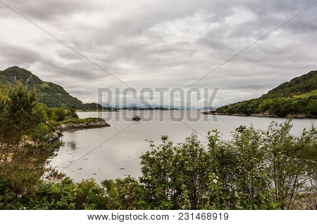 Stromeferry, Scotland - June 10, 2012: From Castle Strome Ruins Looking Over Loch Carron Towards Oce