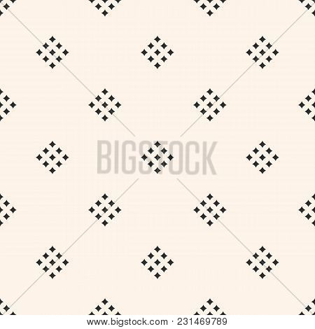 Minimalist Background. Vector Geometric Texture With Small Diamond Shapes, Tiny Rhombuses, Squares.