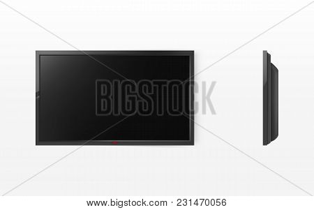 Vector 3d Realistic Illustration Of Tv Screen, Modern Black Lcd Panel For Hdtv, Wide-screen Display,