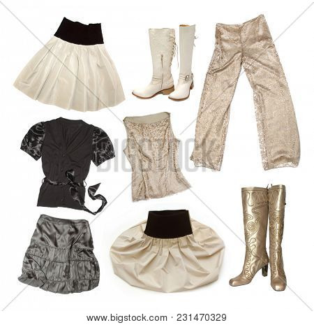 Fashion things on white background