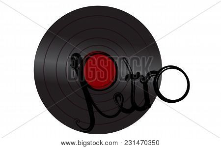 Black Vivid Musical Analogue Retro Old Antique Hipster Vintage Gramophone Record For Gramophone And