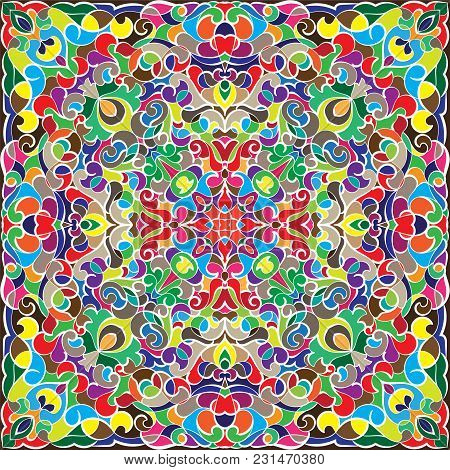 Bright Colored Handkerchief With Damask Pattern Silk Scarf Or Shawl.
