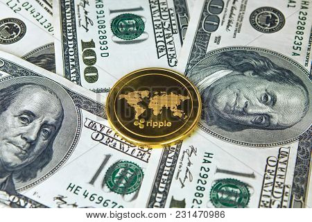Coin Ripple Gold Xrp Close Up, The Coin On American Dollars Money Usa. With A Great Place For Your T