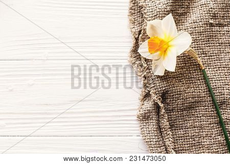 Beautiful Fresh Daffodil On Rustic Fabric On White Wooden Table Top View. Hello Spring Image With  Y