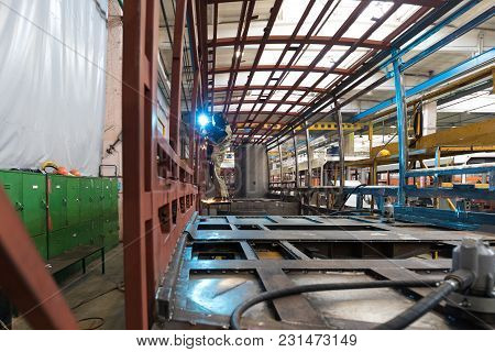 One Working Day Of Modern Automatic Bus Trolleybus Car Production With Unfinished Cars Workers In Pr