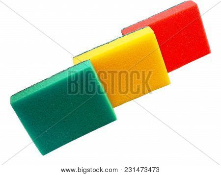 Colored Sponges For Cleaning Isolated On White Background. Sponges For Housework.