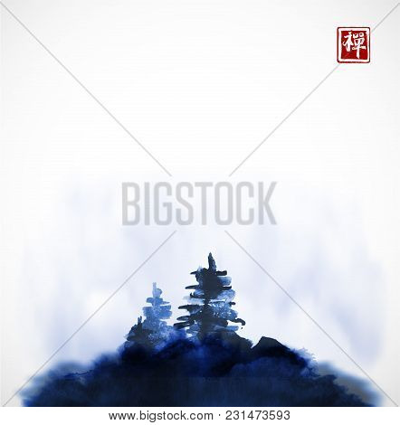 Stylized Blue Ink Wash Painting With Pine Trees On The Hill In Mist. Traditional Oriental Ink Painti