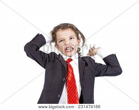 A Young Businessman Gets Angry And Tears His Hair On His Head. Isolated. White Background.