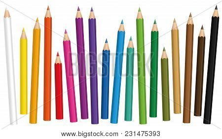 Crayons. Colored Pencil Set Loosely Arranged In Different Lengths - Isolated Vector Illustration On
