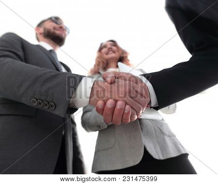 Photo of handshake of two happy businessmen