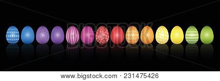 Easter Eggs. Lined Up With Different Colors And Patterns. Rainbow Colored Three-dimensional Isolated