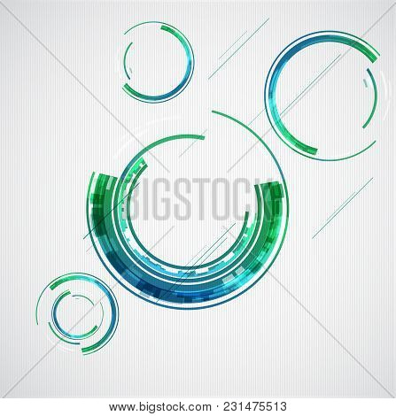 Abstract Color Technology Themed Circles. Vector Illustration