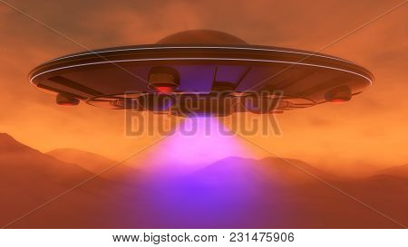 An Ufo Hovers Over The Mars Landscape(3d Rendering)