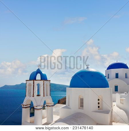 Volcano Caldera With Blue Church Domes And Belfry, Oia, Santorini