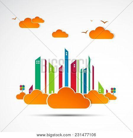 Skyscraper. City Theme Background. Autumn  Vector Illustration