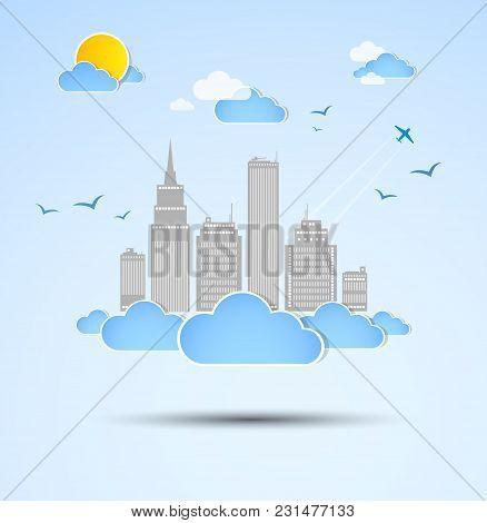 Skyscraper. City Theme Background. Good Weather. Vector