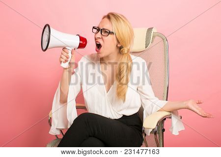Annoyed Dissatisfied Furious Businesswoman Boss In Glasses Isolated On Pink Background Shout Through