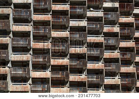 Lattice Dilapidated Balconies Of The Standard Rooms Of The Old Unfinished Hotel