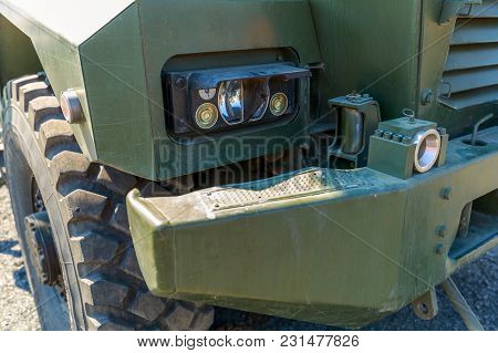 Detailed Front View Of A Modern Military Truck With Led Headlights