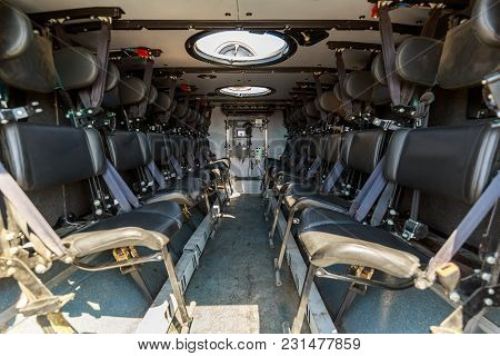 Seatings Inside An Armored Military Vehicle For Carrying Soldiers