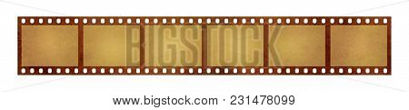 Close Up Six Frames Of Old Vintage Grunge Retro Styled Classical 35 Mm Film Strip Isolated On White