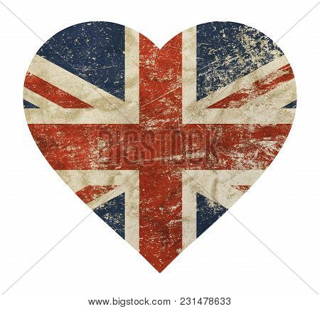 Heart Shaped Old Grunge Vintage Dirty Faded Shabby Distressed Uk Great Britain National Flag Isolate
