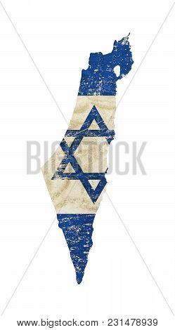 Old Grunge Vintage Dirty Faded Shabby Distressed Israel Flag Of White Background With Blue Star Of J