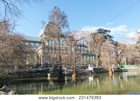 Madrid, Spain - January 27, 2018: Crystal Palace (palacio De Cristal) In Retiro Park In Madrid, Spai