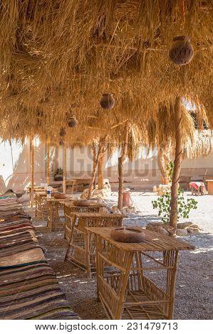 Shadowed terrace in african desert village, Egypt