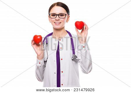 Portrait Of Young Attractive Positive Friendly Smiling Woman Doctor Standing In Office With Hearts I