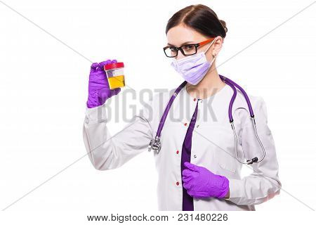 Portrait Of Young Attractive Caucasian Brunette Positive Friendly Woman Doctor Standing In Office Wi