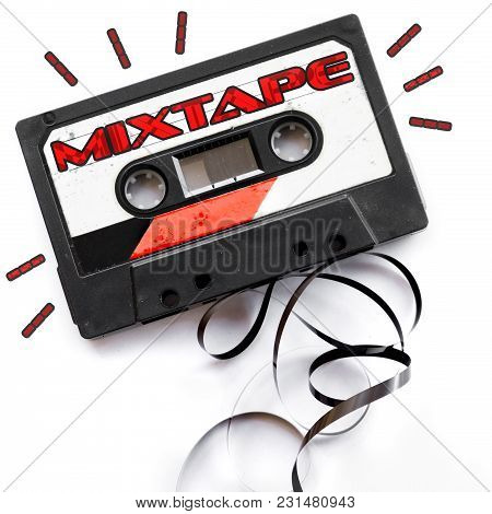 Mixtape Audio Tape Label Red Playlist Background