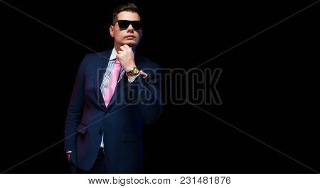 Young Caucasian Elegant Smart Friendly Business Serious Thoughtful Man In Blue Suit Standing In Offi