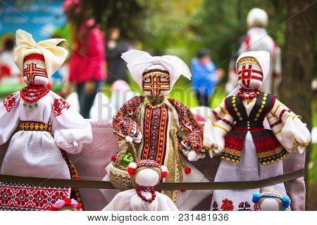 Ukrainian Doll-motanka Or Rag Doll. Stuffed Toys. Handmade Textile Doll Ancient Culture Folk Crafts