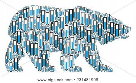 Bear Mosaic Combined Of Test Tube Elements. Vector Test Tube Pictograms Are Organized Into Conceptua