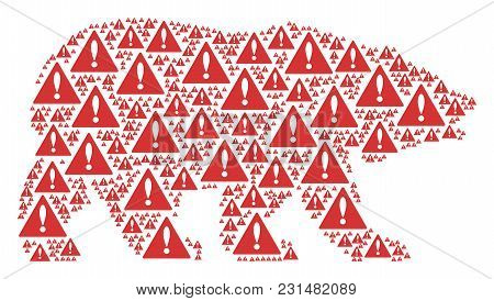 Bear Pattern Designed Of Warning Pictograms. Vector Warning Pictograms Are United Into Geometric Bea