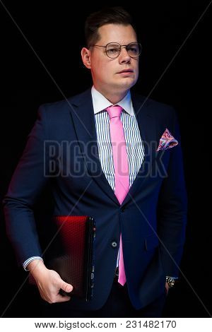 Young Caucasian American Elegant Smart Clever Friendly Business Man Serious Thoughtful In Blue Suit