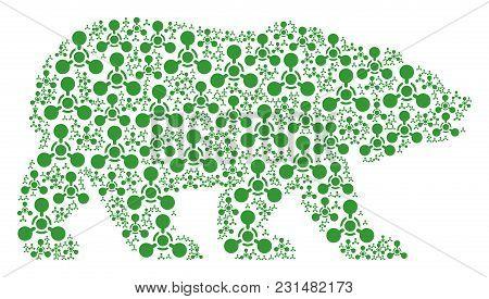 Bear Mosaic Designed Of Wmd Nerve Agent Chemical Warfare Icons. Vector Wmd Nerve Agent Chemical Warf