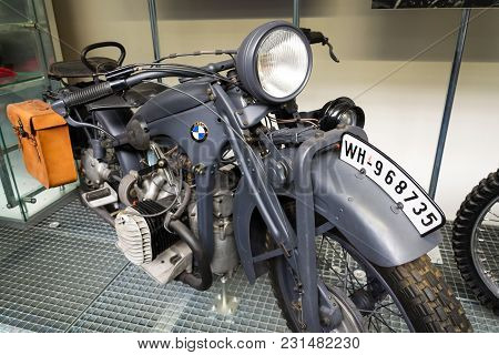 Prague, Czech Republic - March 8 2018: German Motorcycle Bmw R11 From Year 1932 Stands On March 8, 2