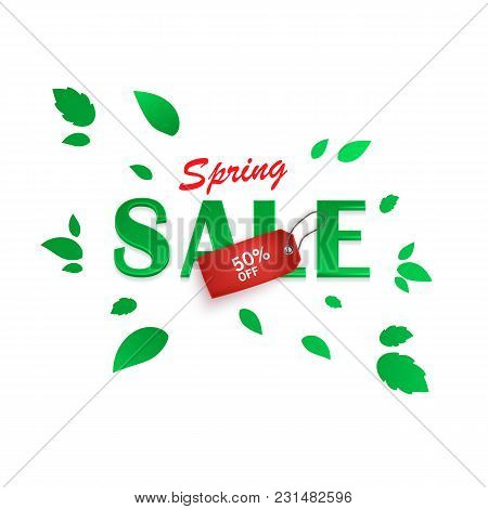 Spring Sale Background, Banner With Beautiful Green Leaves And Realistic Red Tag. Vector Eps 10 Illu