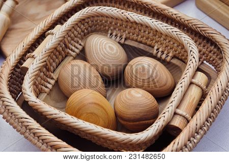 Wooden Eggs On Basket, Easter Holiday Background