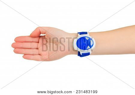 Blue Electronic Anti Snore Wristband On The Arm On Blue Background,