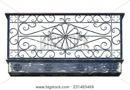 Ancient Balcony Of Wrought Iron. Isolated Over White Background.