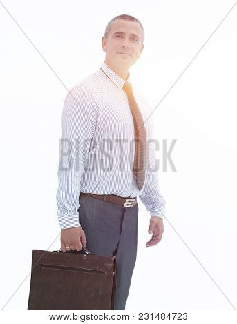 in full growth.modern business man with a briefcase.
