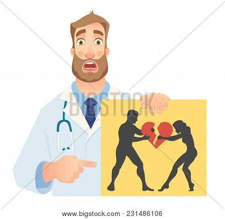 Psychotherapist Holding Banner. Psychotherapist Doctor With Clipboard. Illustration