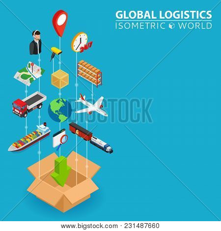 Logistic Integrated 3d Web Icons. Digital Network Isometric Progress Concept. Connected Graphic Desi