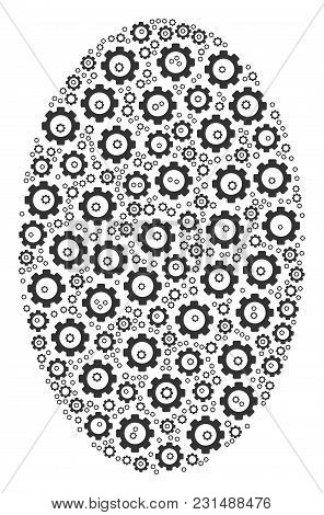Filled Ellipse Mosaic Of Gear Icons. Vector Gear Parts Are United Into Filled Ellipse Mosaic.