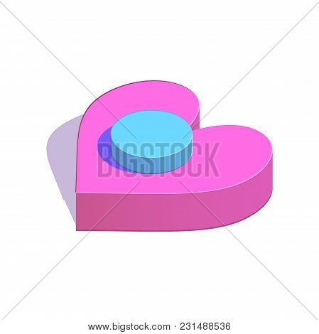 Isometric Circle Button On Heart Simple Icon. The Beginning Of Relations Concept Vector Illustration