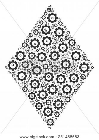 Filled Rhombus Mosaic Of Cog Wheels. Vector Gear Parts Are Composed Into Filled Rhombus Composition.