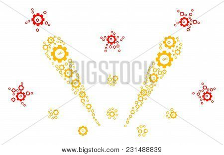Fireworks Explosion Mosaic Of Tooth Gears. Vector Cogwheel Symbols Are Composed Into Fireworks Explo